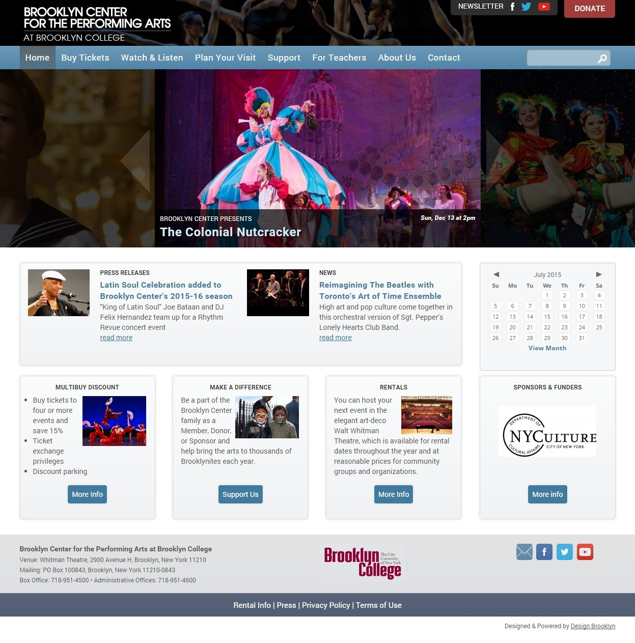 Brooklyn Center for the Performing Arts Homepage