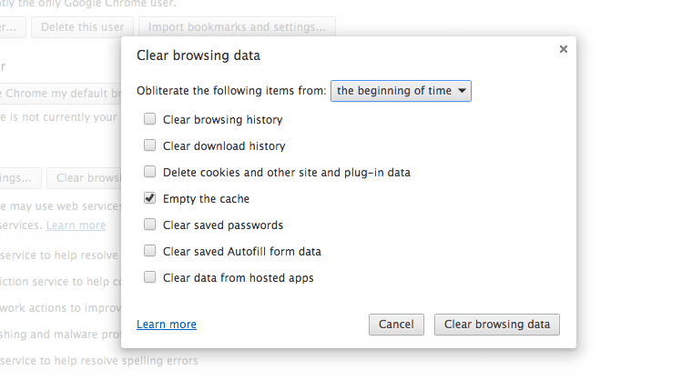 how to set chrome to automatically clear cache