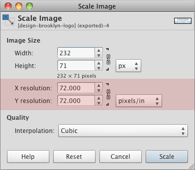 GIMP Scale Image Resolution