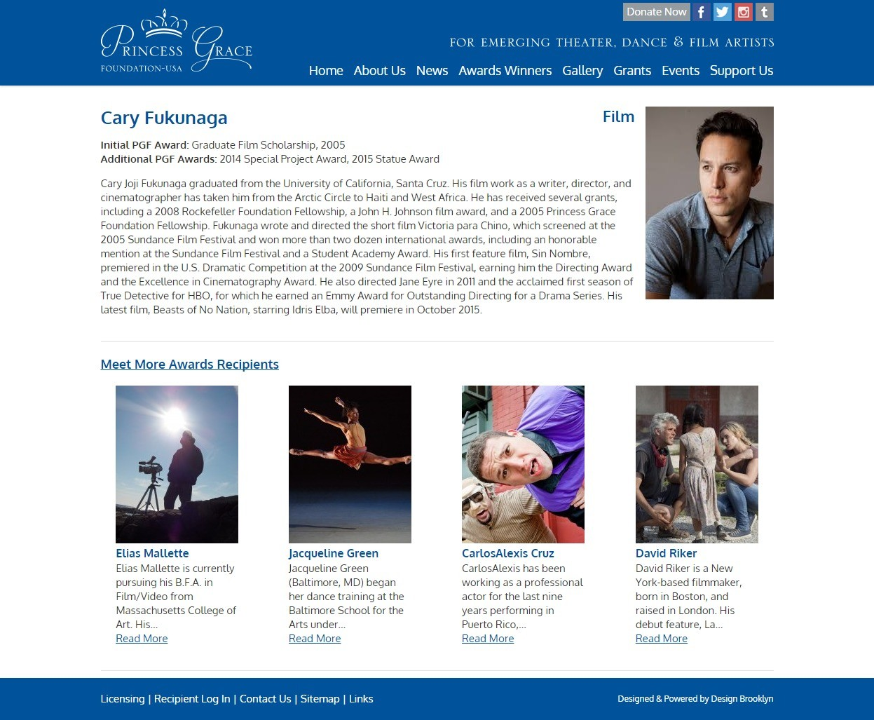 Princess Grace Foundation Award Winner Details