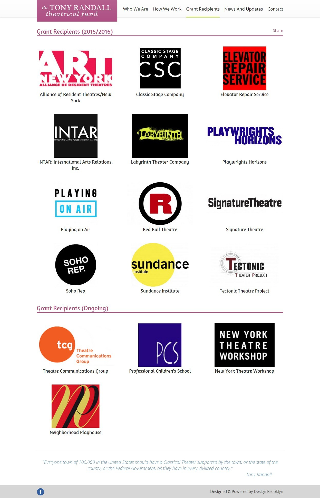 The Tony Randall Theatrical Fund Recipients Listing