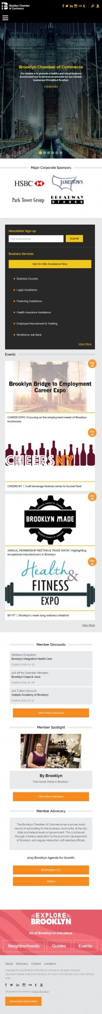 Mobile view of Brooklyn Chamber of Commerce website